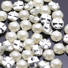 7mm 100pcs/lot Silver Plating pearl Color Rhinestone Beads, Sew On Rhinestones for Garment Jewelry Sew on Pearls With 4 Holes