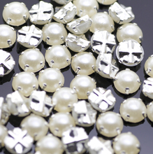 7mm 100pcs/lot Silver Plating pearl Color Rhinestone Beads, Sew On Rhinestones for Garment Jewelry Sew on Pearls With 4 Holes(China)