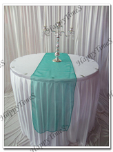 20pcs/lot 30*275cm Luxury  Crochet Organza  Table Runner In Grass Green Color Wedding Favor Decoraions