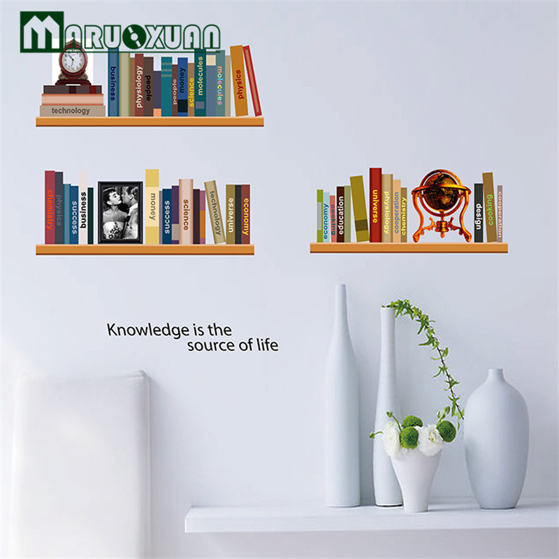 Elegant Study Imitation Bookshelves Decorative Stickers Personalized Fashion a New Generation Removable Living Room Bedroom Den(China)