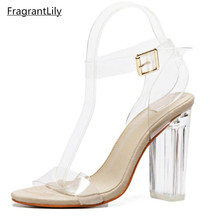 FragrantLily Women Pumps Celebrity Wearing Simple Style PVC Clear Transparent Strappy Buckle Sandals High Heels Shoes Woman(China)