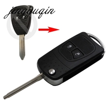 jingyuqin Modified Flip Folding Key Shell for Chrysler Jeep Compass Wrangler Patriot Remote Key Case Fob 2 Button