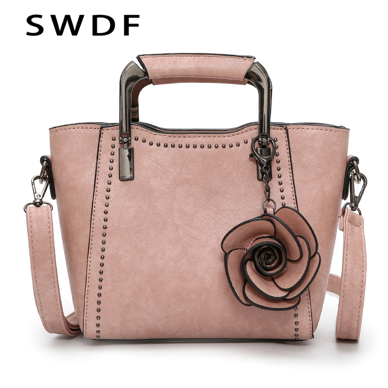 SWDF New Luxury Oil Flower Handbag Women Female Vintage Leather Bags Designer Shoulder Bag Ladies SAC A Main Capacity Totes Bags<br>
