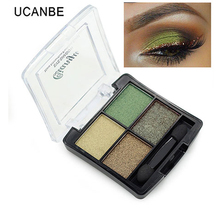 Fashion 4 colors glitter eyeshadow naked palette natural brand cosmetic makeup smokey make up shining eye shadow with brush set