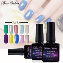 Blue Velvet 10ml Sparkle Series Soak Off Gel Nail Polish Pick 1 From 12 Colors UV Gel Manicure Long Lasting Lacquer Nail Art