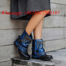 Winter Spring New Fashion Retro Bota Feminina Embellished Rivet Biker Boots Studded Buckle Boot Knight Shoes Women Ankle Boots