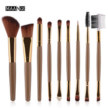 9 Pcs Professional Eye shadow Eyebrow Eyeliner Nasal shadow Beauty Brushes Tool Set  Cosmetic blusher Blush Lip Makeup Brush kit