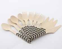 Promotional 1440pcs Printed Wooden Cutlery Set Wholesale Wedding Supplies Discount Wedding Party Favors Bulk Event Supplies(China)