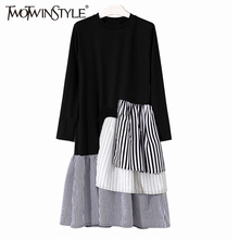 Buy TWOTWINSTYLE 2017 Striped Summer Dress Women Tunic Midi Long Sleeve Female Dresses Ruffles Pleated Casual Clothes Korean for $23.41 in AliExpress store