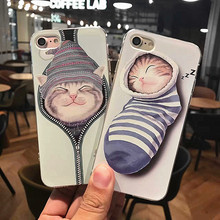 SZYHOME Phone Cases for IPhone 6 6s 7 Plus Case Cat Sock Cute Discounted for IPhone 7 Plus Embossment Mobile Phone Cover Capa