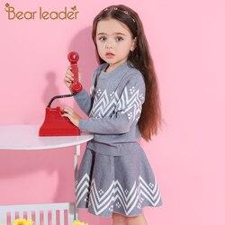 Bear Leader/комплекты с юбкой для девочек 2019 г. Новый осенне-зимний свитер с длинными рукавами с геометрическим рисунком + юбка трикотажные гарни...