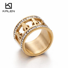 Kalen Cute Baby Boy Figure Shape Rings Exquisite Clear Cubic Zirconia Stainless Steel Gold Color Round Rings For Women Jewelry(China)