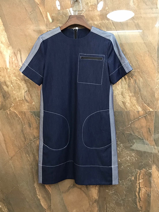 Summer 2019 New Female Round-neck Line Colour Stripe Short-sleeved Jean Dress 427