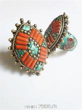 R204 Nepal Tibetan White Metal Copper Antiqued inlaid Red Coral Oval Sunflower big Ring,superwide Man finger Rings