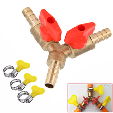 "5/16"" 8MM Brass Y 3-Way Shut Off Ball Valve Clamp Fitting Hose Barb Fuel Gas Water Oil For Garden Irrigation Automotive Mayitr(China)"