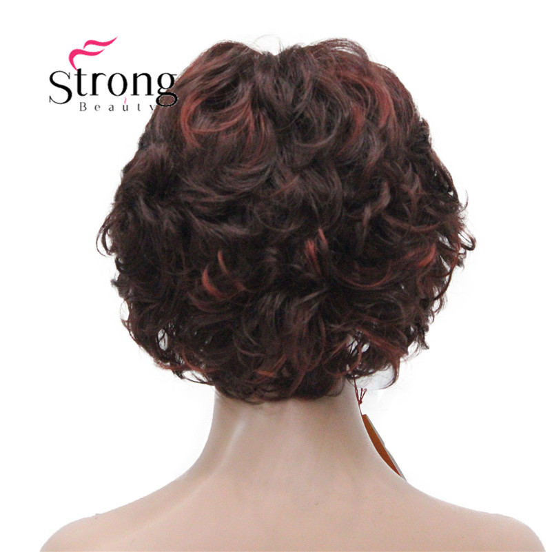 E-7125 #33H350 New Wavy Curly Auburn Mix Red Short Synthetic Hair Full Women's daily Party Wig (10)