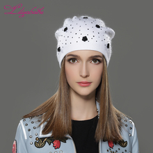 LILIYABAIHE Women Winter Hat angora Knitted Skullies Beanie Cap solid colors fashion the most popular decoration Roses caps(China)