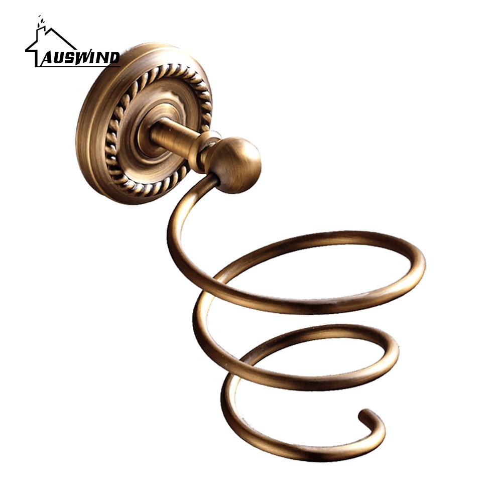 Antique Bronze Hair Dryer Rack European Copper Brush Carved Hair Dryer Holder Wall Mounted Bathroom Hardware sets<br>