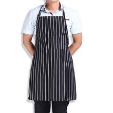 Adult Cook Waiter Polyester Stripe Bib Apron with 2 Pockets Chef Waiter Apron Kitchen Cooking Tool