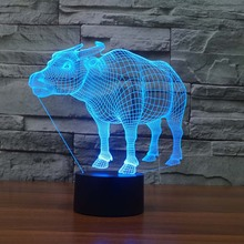 3D Buffaloe Night Light Table lamp Indoor Led Lamp Night Lighting DIM 7 Color Changing led night lighting outlet(China)