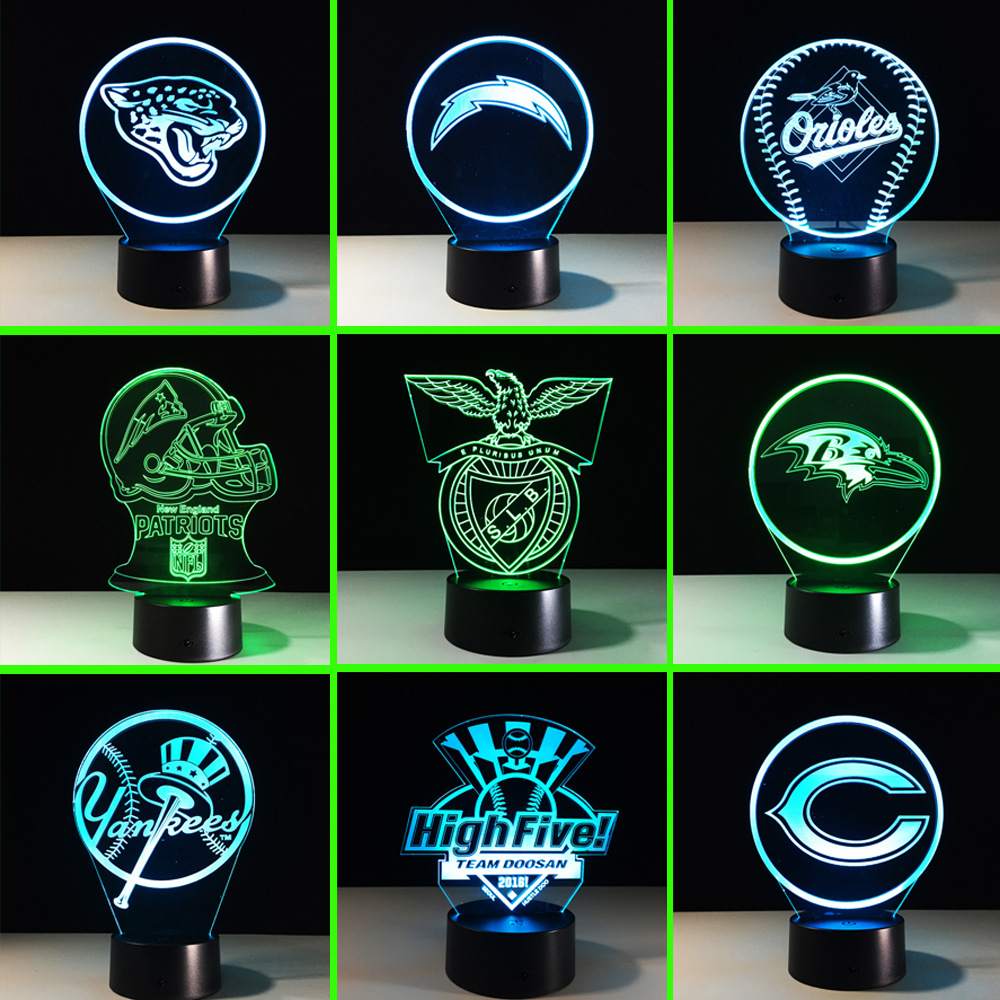 N516 3D Footballs Rugby Logo Action figure Model Style LED lamp  Home Table Decor 7 Color Changing Atmosphere Bedroom Lamp<br>