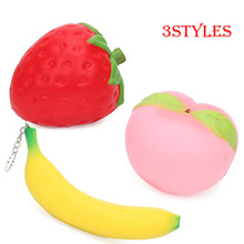 5pcs Good Slow Rising Squishy Strawberry Peach Keychain Jumbo Banana Kawaii Decompression Toys Cell Phone Charms Pendants Strap