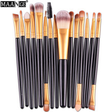 MAANGE High Quality 15 pcs/Sets Makeup Brushes Professional Eye Shadow Foundation Lip Comestic Brush Tool Kits pincel maquiagem(China)