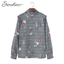 Simshion Women Elegant Flower Printing Blouse Spring Long Sleeve Tops Shirts 2018 Fashion Gray Check Stand Collar Blusa Shirts(China)