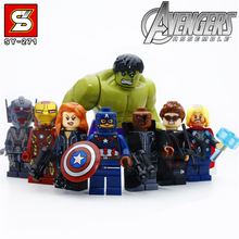 Legoel marvel captain american 8pcs Assembly Model Building Blocks Avengers minifigure toys for kids civil war iron man toys(China)