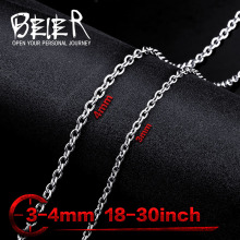Beier stainless steel necklace twist 3mm/4mm trendy chain necklace boy man necklace chain Silver Color BN1027