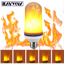 RAYWAY 7W LED Flame Effect Fire Light Bulbs Flickering Emulation Decorative Lamps Simulated Vintage Flame E27 Bulb for Club Bar(China)