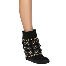 New Fashion Casad Ankle Boots Suede Black Floral Embellished Studded Wedge Boots Height Increaing Women Winter Zapatos Boots