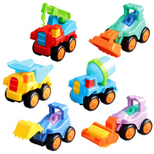 6PCS Kids Children Simulation Engineering Vehicles Excavator Inertia Car Boys Toy Real Dump Truck Crane Roller toy combination(China)
