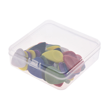 Good quality 50pcs Guitar Picks Celluloid Picks Color Mixed with Storage Box for Acoustic Folk Classic Electric Guitars Bass(China)