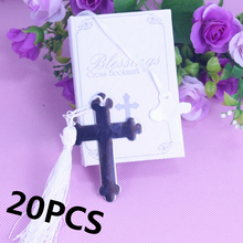 20PCS Boxed Blessings Silver Bible Cross Bookmark Bridal Baby Shower Souvenirs Holy Communion Wedding Favors and Gifts For Guest(China)