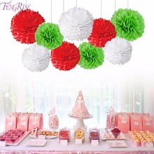 FENGRISE 9pcs 8 10Inch Tissue Paper Pom Poms Mixed Christmas Decorative Flowers Wreaths Christmas Ornaments Home Decor Supplies(China)