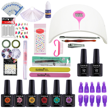 24W Led Lamp LED Screen Nail Dryer + 6 Color 10ml UV Gel Soak Off Gel Nail Polishes Base Top Coat Tip Builder Manicure Tools Kit(China)