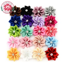 50 pcs/lot Satin Flower WITHOUT Clip Fabric Flower With Rhinestone Headbands Appliques Garment Accessories 587.