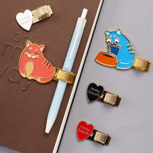 Cute Metal Pen Holder Kawaii Pen Clips For Pencil Pen Travelers Notebook Pen Holder For Midori Planner Book School Accessories(China)