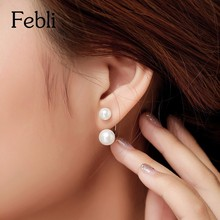 Buy Hot Silver Plated Double Side Earing Fashion Jewelry Crystal Ball Stud Earrings Women Simulated Pearl Earrings Free for $1.59 in AliExpress store