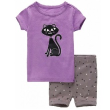 Purple Cat Girls Clothes Sets 2y-7y Girl Summer Pajamas 2016 Short Sleeve Kids Sleepwear Set Children's Pijamas clothing set