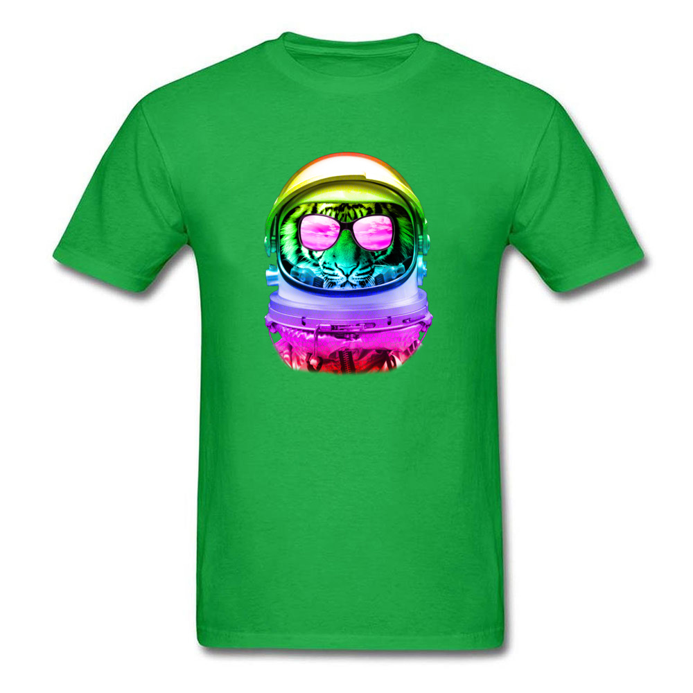 Custom Cool Space Tiger T-Shirt 2018 New Summer/Autumn Short Sleeve O-Neck Tops Tees Pure Cotton Man Street T-shirts Cool Space Tiger green