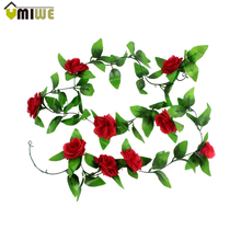 Artificial Silk rose Flower Ivy Vine Hanging Garland Plants Christmas Party Home Decor DIY Wall Sticker Wedding Decoration