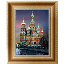 DIY 5D Diamonds Embroidery Building church Round Diamond Painting Cross Stitch Kits Mosaic Home decor 30*40cm Embroidery Beads(China)