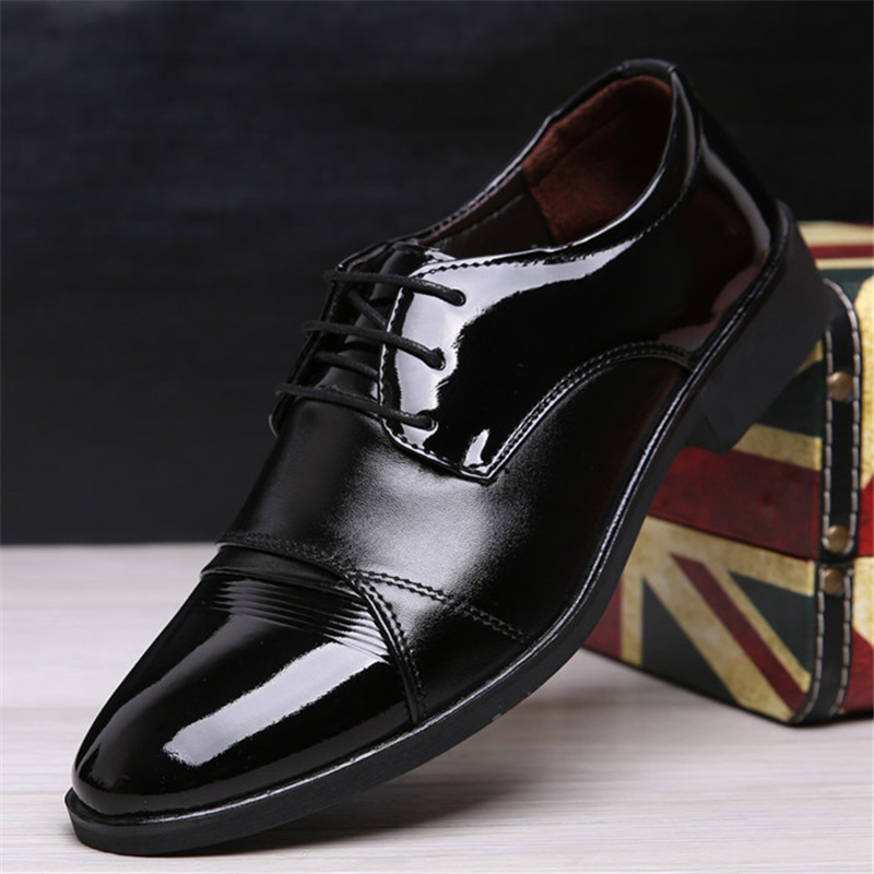 Formal Shoes Men's Shoes 2019 Fashion Casual Dress Men Shoes High-quality Shoes Leather Formal Dance Mens Tip Head Bright Leather Mesh Business Leather Shoe 2018 New