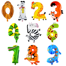 10Pcs 16inch Animal Number Foil Inflatable Balloons Wedding Happy Birthday Decoration Air Balloons Party Balloon Children Gifts
