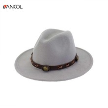 Vancol 2017 New Arrival Wide Brim Autumn Fedora Hat Winter Fashion Top Hat Jazz Cap Female Woolen Caps Belt Black Hats Women(China)