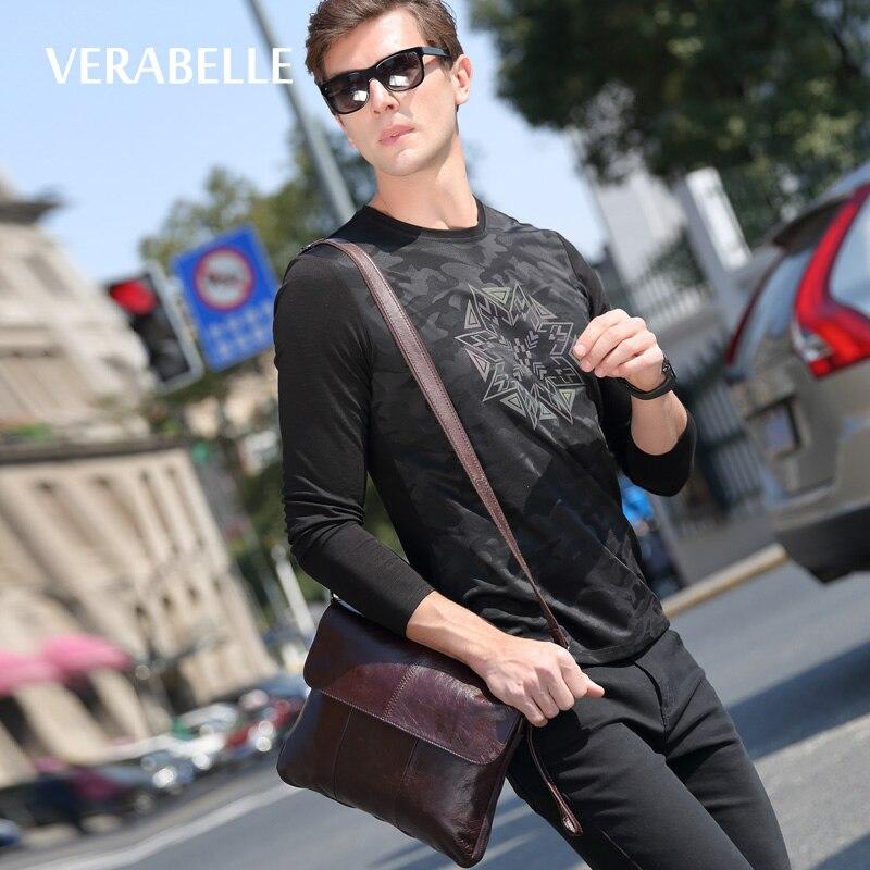 VERABELLE 2017 full-grain cowhide genuine leather high quality business mens handbag shoulder satchels messenger/crossbody Bags<br>