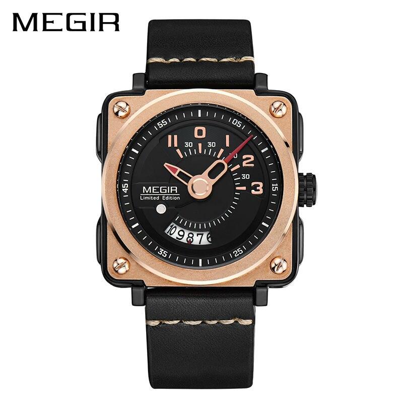 MEGIR Men Watch Fashion Quartz Watches Clock Men Leather Strap Relogio Masculino Military Watch for Male Reloj Hombre 2040<br>