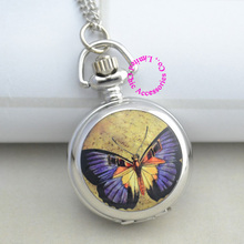 wholesale buyer pocket watch necklace good quality silver enamel fob watches blue butterfly pattern drawing clock antibrittle